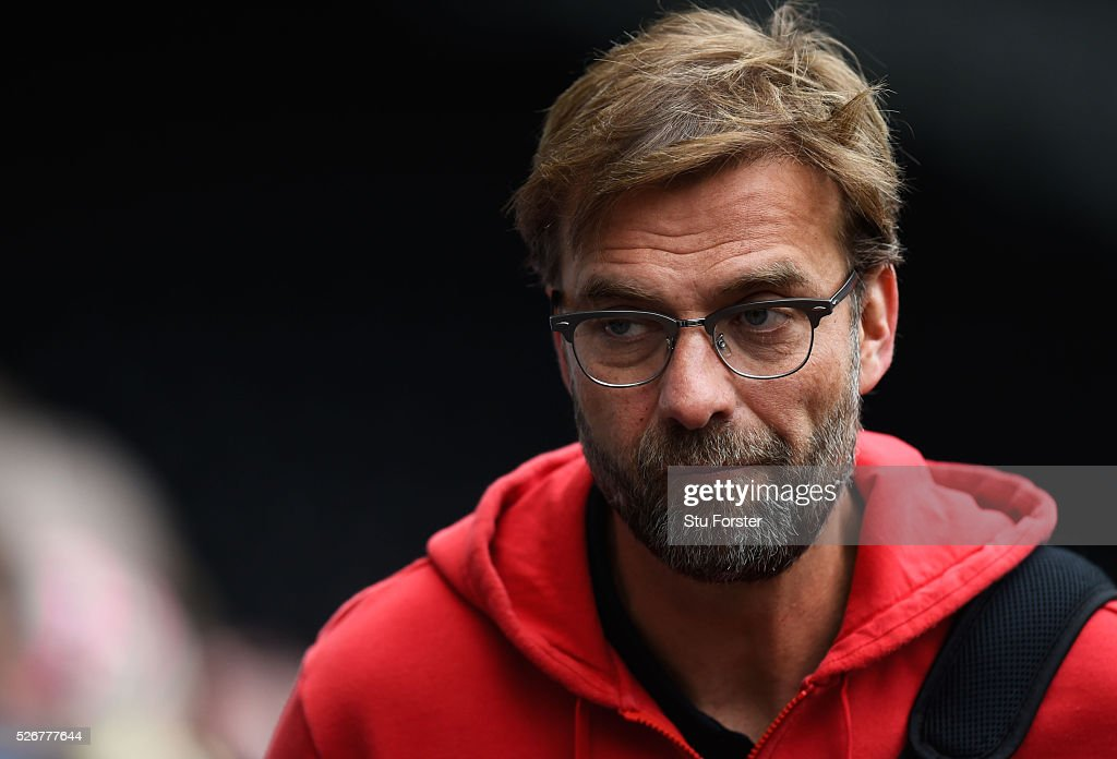 Jurgen Klopp, manager of Liverpool arrives for the Barclays Premier League match between Swansea City and Liverpool at The Liberty Stadium on May 1, 2016 in Swansea, Wales.