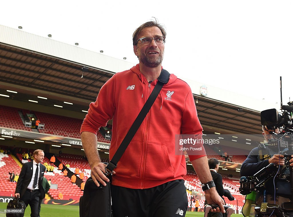 Jurgen Klopp manager of Liverpool arrives for the UEFA Europa League Semi Final: Second Leg match between Liverpool and Villarreal CF at Anfield on May 05, 2016 in Liverpool, England.