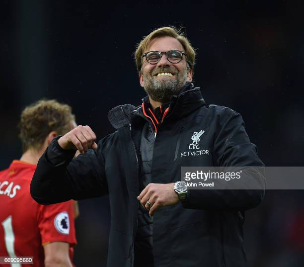 Jurgen Klopp Manager of Liverpool at the end of the Premier League match between West Bromwich Albion and Liverpool at The Hawthorns on April 16 2017...