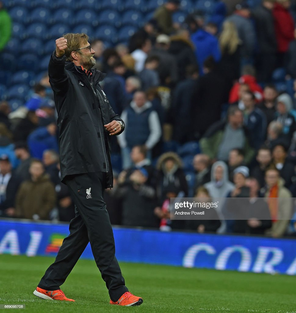 Jurgen Klopp Manager of Liverpool at the end of the Premier League match between West Bromwich Albion and Liverpool at The Hawthorns on April 16, 2017 in West Bromwich, England.