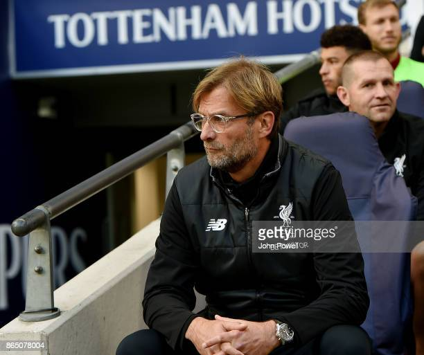 Jurgen Klopp manager of Liverpool at the start of the Premier League match between Tottenham Hotspur and Liverpool at Wembley Stadium on October 22...