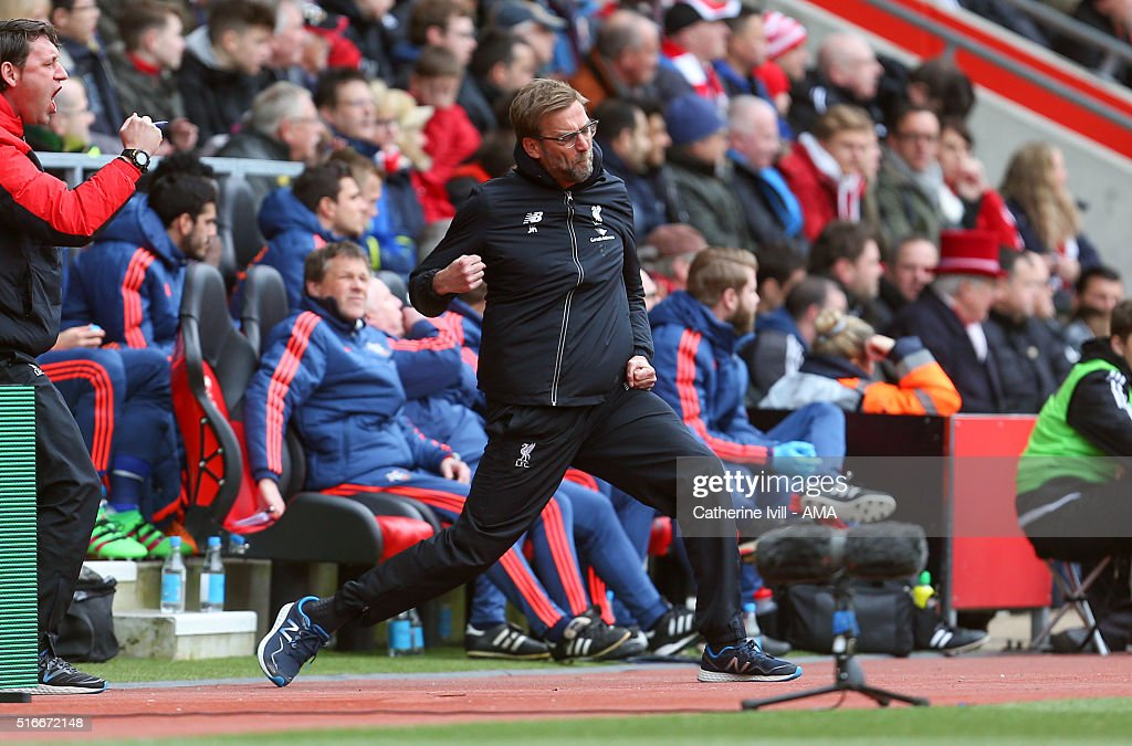 Jurgen Klopp manager of Liverpool celebrates after Daniel Sturridge of Liverpool scores to make it 0-2 during the Barclays Premier League match between Southampton and Liverpool on March 20, 2016 in Southampton, United Kingdom.