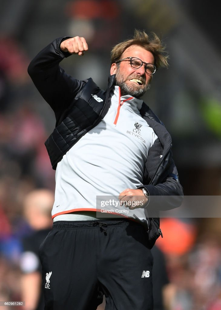 Jurgen Klopp, Manager of Liverpool celebrates after the Premier League match between Liverpool and Everton at Anfield on April 1, 2017 in Liverpool, England.