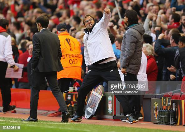 Jurgen Klopp manager of Liverpool celebrates as Bruno of Villarreal scores an own goal for their first goal during the UEFA Europa League semi final...