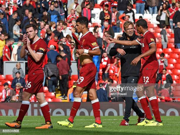 JUrgen Klopp Manager of Liverpool celebrates at the end of the Premier League match between Liverpool and Crystal Palace at Anfield on August 19 2017...