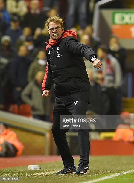 Jurgen Klopp manager of Liverpool celebrates during the Barclays Premier League match between Liverpool and West Bromwich Albion at Anfield on...