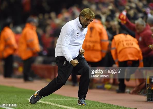 Jurgen Klopp manager of Liverpool celebrates during the UEFA Europa League quarter final second leg match between Liverpool and Borussia Dortmund at...
