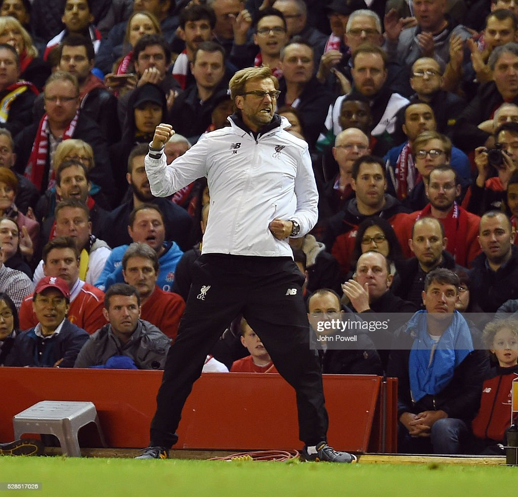 Jurgen Klopp manager of Liverpool celebrates during the UEFA Europa League Semi Final: Second Leg match between Liverpool and Villarreal CF at Anfield on May 05, 2016 in Liverpool, England.