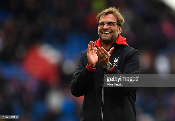 Jurgen Klopp manager of Liverpool celebrates victory after the Barclays Premier League match between Crystal Palace and Liverpool at Selhurst Park on...