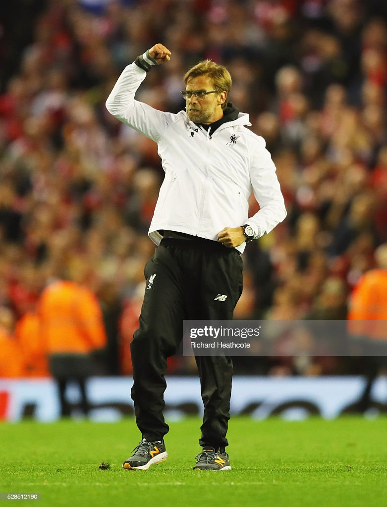 Jurgen Klopp manager of Liverpool celebrates victory after the UEFA Europa League semi final second leg match between Liverpool and Villarreal CF at Anfield on May 5, 2016 in Liverpool, England. Liverpool reach the Europa League Final winning 3-1 on aggregate.