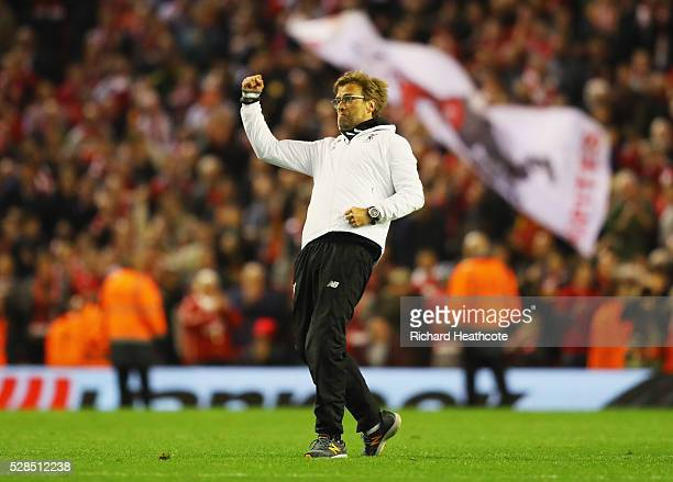 Jurgen Klopp manager of Liverpool celebrates victory after the UEFA Europa League semi final second leg match between Liverpool and Villarreal CF at...