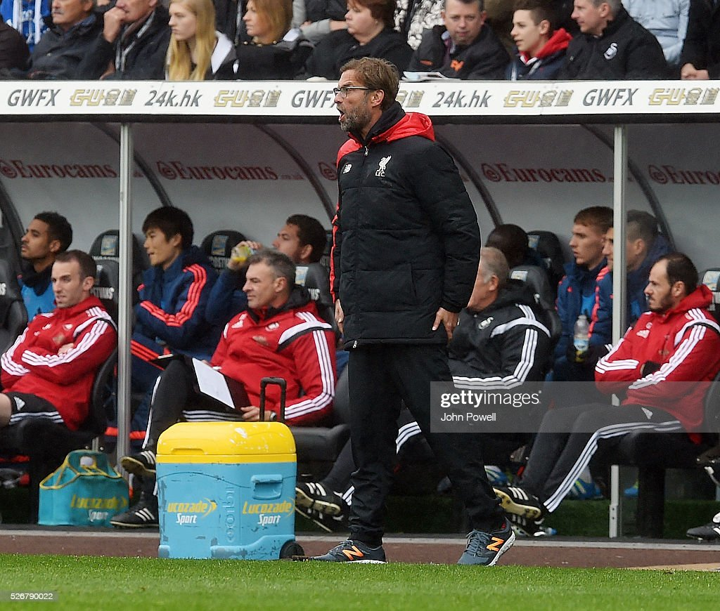 Jurgen Klopp manager of Liverpool during a Premier League match between Swansea City and Liverpool at the Liberty Stadium on May 01, 2016 in Swansea, Wales.