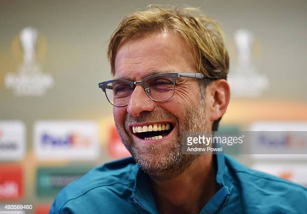 Jurgen Klopp manager of Liverpool during a press conference at Melwood Training Ground on October 21 2015 in Liverpool England