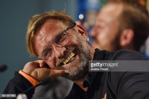 jurgen Klopp Manager of Liverpool during a press conference at Wirsol RheinNeckarArena on August 14 2017 in Sinsheim Germany