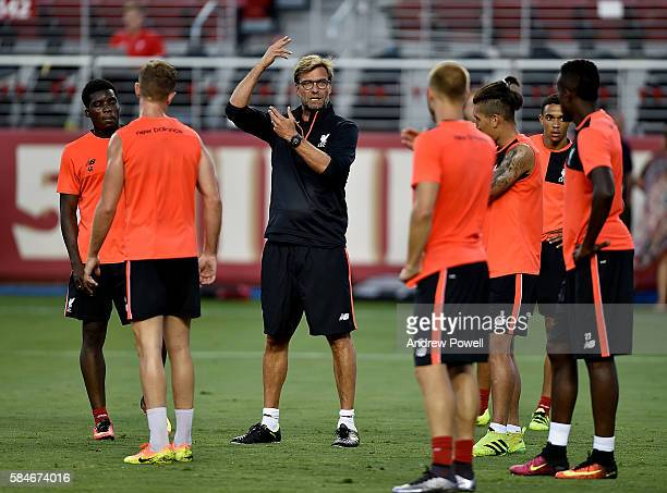 Jurgen klopp manager of Liverpool during a training session at Levi's Stadium on July 29 2016 in Santa Clara California