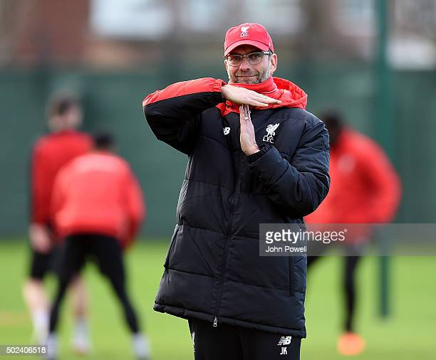Jurgen Klopp manager of Liverpool during a training session at Melwood Training Ground on December 24 2015 in Liverpool England