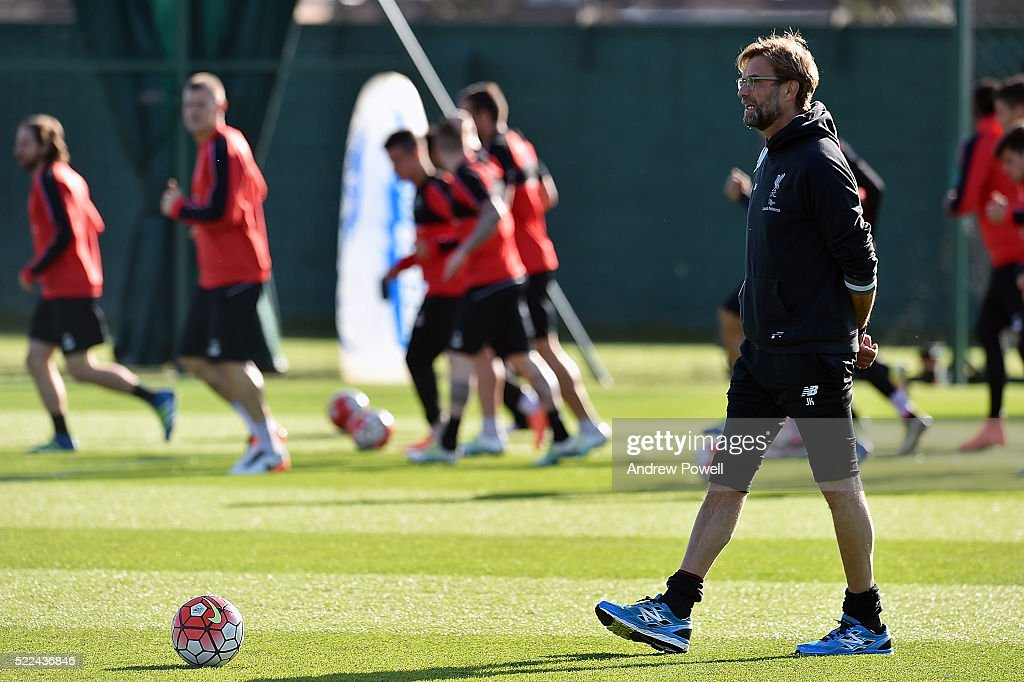 Jurgen Klopp manager of Liverpool during a training session at Melwood Training Ground on April 19, 2016 in Liverpool, England.