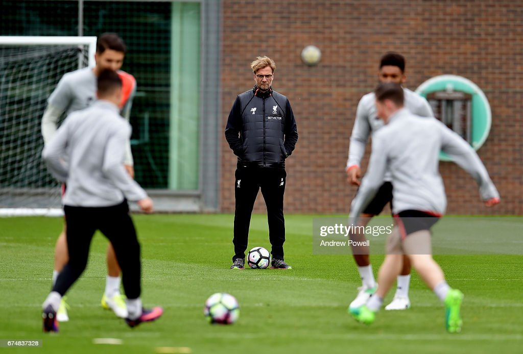 Jurgen Klopp manager of Liverpool during a training session at Melwood Training Ground on April 29, 2017 in Liverpool, England.