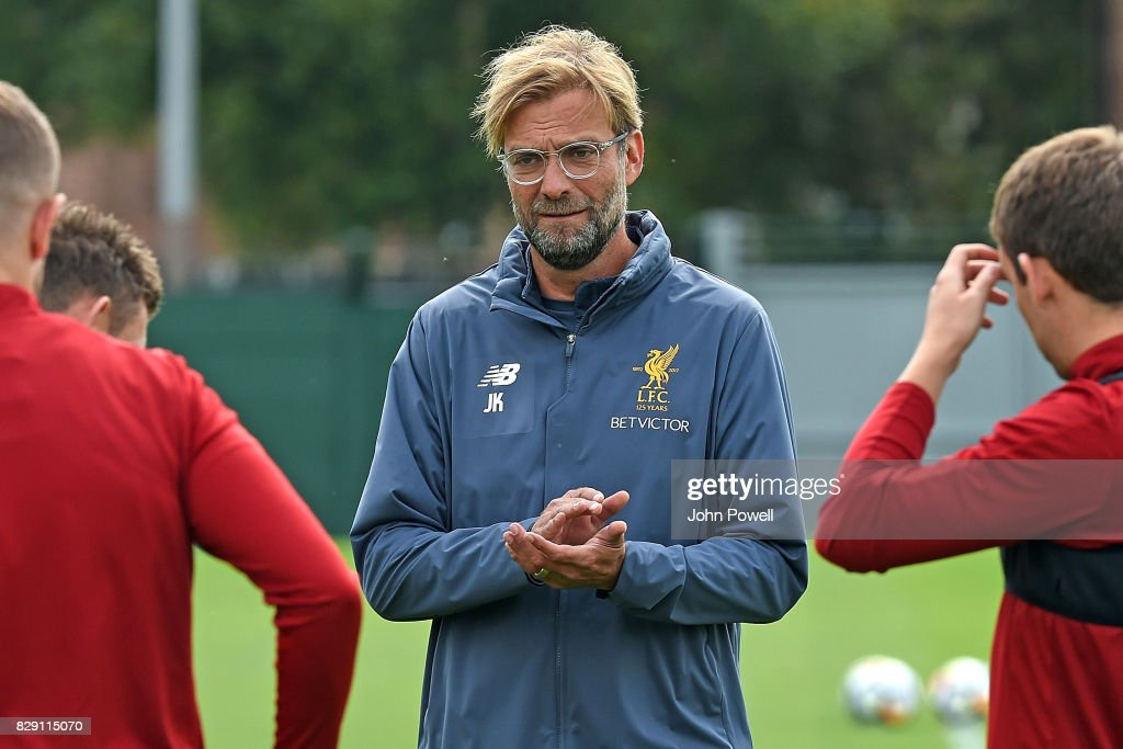 Jurgen Klopp manager of Liverpool during a training session at Melwood Training Ground on August 10, 2017 in Liverpool, England.