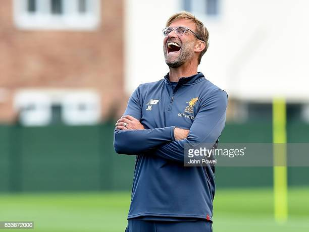 Jurgen Klopp manager of Liverpool during a training session at Melwood Training Ground on August 17 2017 in Liverpool England
