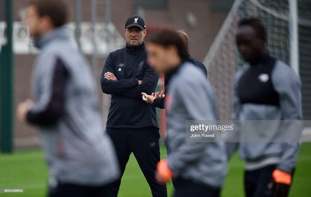 Jurgen Klopp manager of Liverpool during a training session at Melwood Training Ground on September 25, 2017 in Liverpool, England.