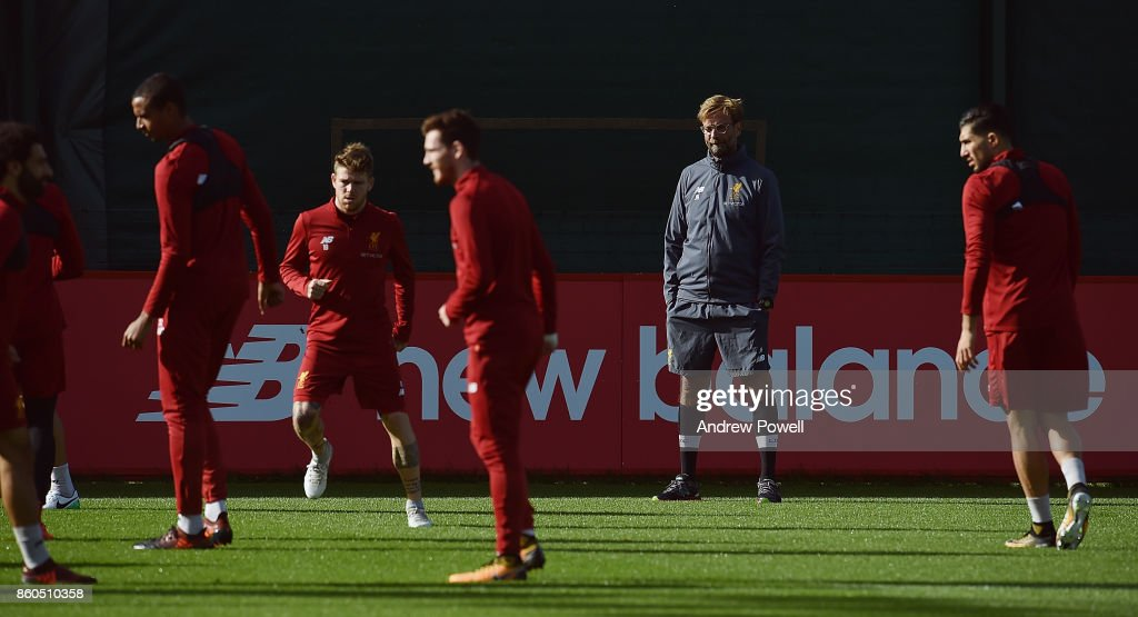 Jurgen Klopp manager of Liverpool during a training session at Melwood Training Ground on October 12, 2017 in Liverpool, England.