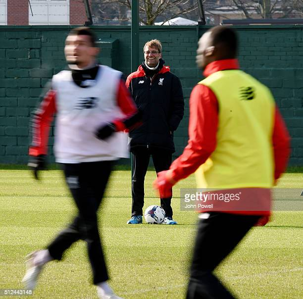 Jurgen Klopp manager of Liverpool during a training session prior Capital One Cup Final match on February 26 2016 in Liverpool United Kingdom