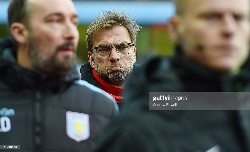 Jurgen Klopp manager of Liverpool during the Barclays Premier League match between Aston Villa and Liverpool at Villa Park on February 14, 2016 in Birmingham, England.