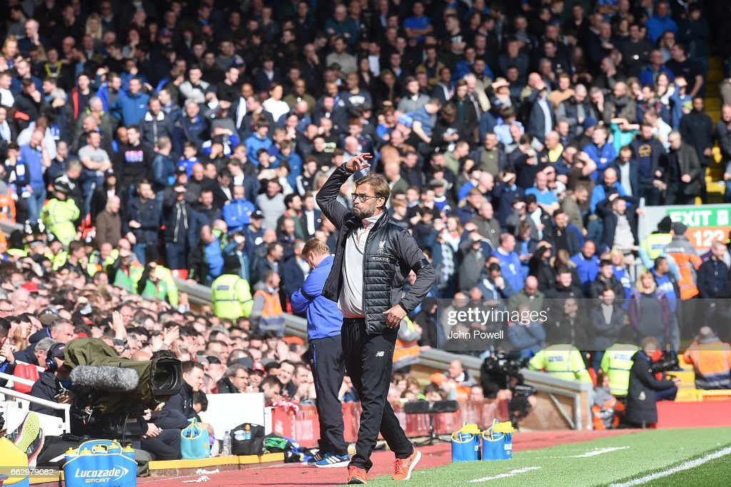 Jurgen Klopp Manager of Liverpool during the Premier League match between Liverpool and Everton at Anfield on April 1, 2017 in Liverpool, England.