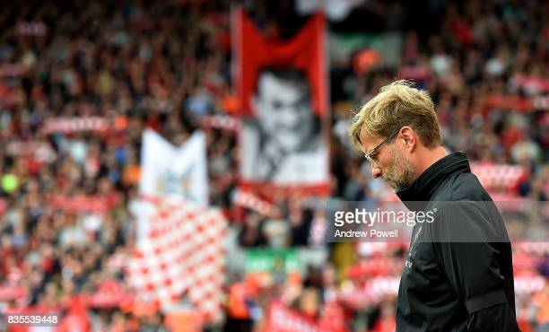 Jurgen KLopp manager of Liverpool during the Premier League match between Liverpool and Crystal Palace at Anfield on August 19 2017 in Liverpool...