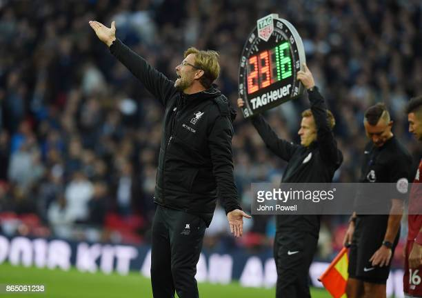 Jurgen Klopp Manager of Liverpool during the Premier League match between Tottenham Hotspur and Liverpool at Wembley Stadium on October 22 2017 in...