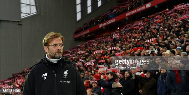 Jurgen Klopp manager of Liverpool during the Premier League match between Liverpool and Everton at Anfield on December 10 2017 in Liverpool England...