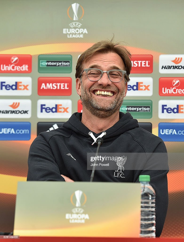 Jurgen Klopp manager of Liverpool during the press conference at Melwood Training ground on May 04, 2016 in Liverpool, England.