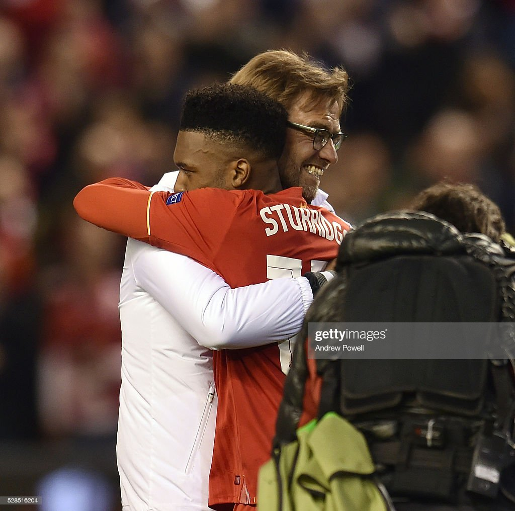 Jurgen Klopp manager of Liverpool embraces Daniel Sturridge at the end of the UEFA Europa League Semi Final: Second Leg match between Liverpool and Villarreal CF at Anfield on May 05, 2016 in Liverpool, England.