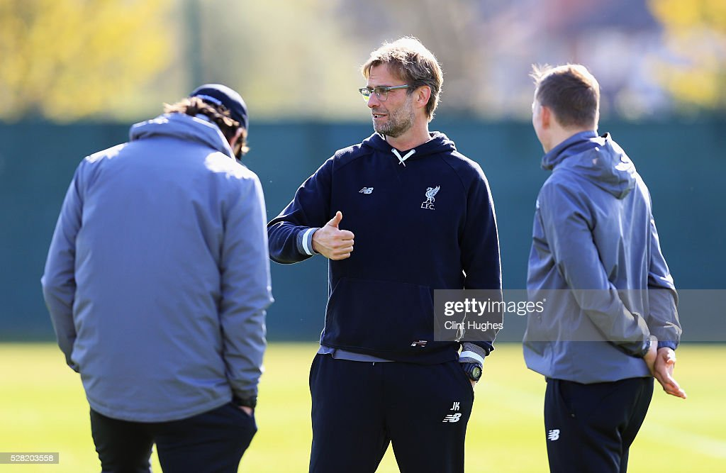 Jurgen Klopp, manager of Liverpool gestures during a training session ahead of the UEFA Europa League Semi-Final Second Leg match against Villarreal at Melwood Training Ground on May 4, 2016 in Liverpool, England.