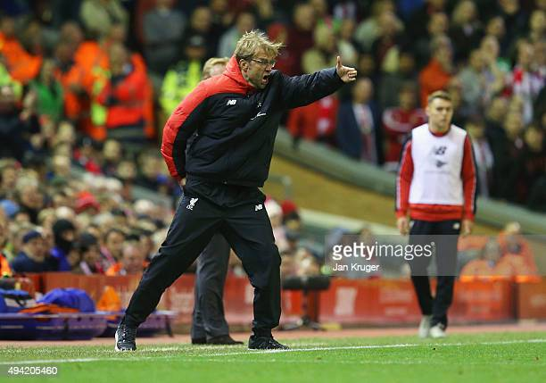 Jurgen Klopp manager of Liverpool gestures during the Barclays Premier League match between Liverpool and Southampton at Anfield on October 25 2015...