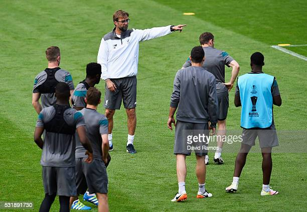 Jurgen Klopp manager of Liverpool gives instructions during a Liverpool training session on the eve of the UEFA Europa League Final against Sevilla...