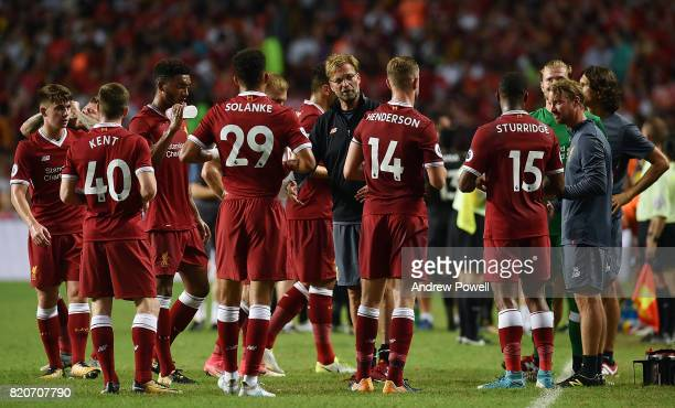 Jurgen Klopp manager of Liverpool giving a team talk during the Premier League Asia Trophy match between Liverpool FC and Leicester City FC at the...