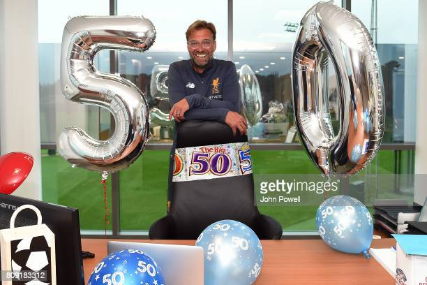 Jurgen Klopp manager of Liverpool is given a birthday surprise by Melwood staff during a training session at Melwood Training Ground on July 5 2017...