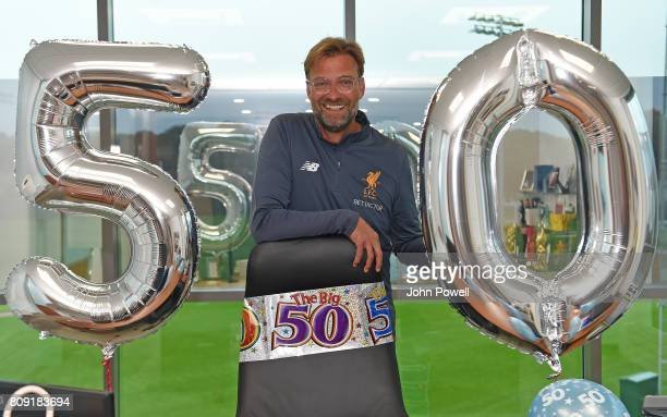 Jurgen Klopp manager of Liverpool is surprised with a Birthday set up by Melwood staff during a training session at Melwood Training Ground on July 5...
