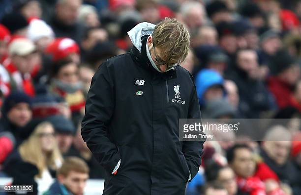 Jurgen Klopp Manager of Liverpool looks dejected during the Premier League match between Liverpool and Swansea City at Anfield on January 21 2017 in...