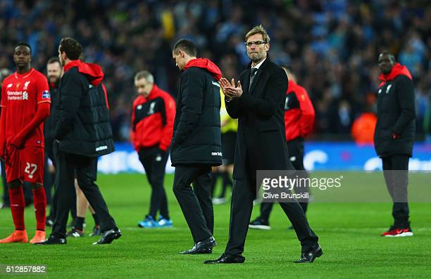Jurgen Klopp manager of Liverpool looks dejected in defeat after the Capital One Cup Final match between Liverpool and Manchester City at Wembley...
