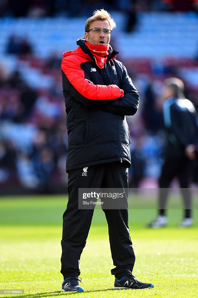 Jurgen Klopp, Manager of Liverpool looks on before the Barclays Premier League match between Aston Villa and Liverpool at Villa Park on February 14, 2016 in Birmingham, England.