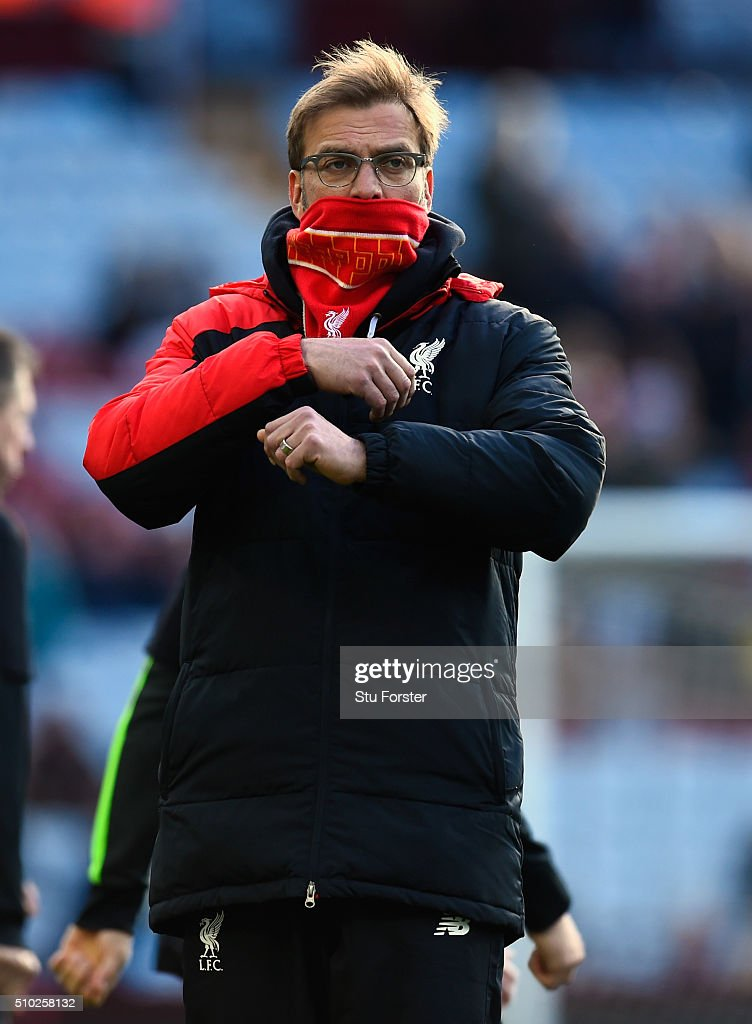 Jurgen Klopp, Manager of Liverpool looks on before the Barclays Premier League match between Aston Villa and Liverpool at Villa Park on February 14, 2016 in Birmingham, Liverpool.