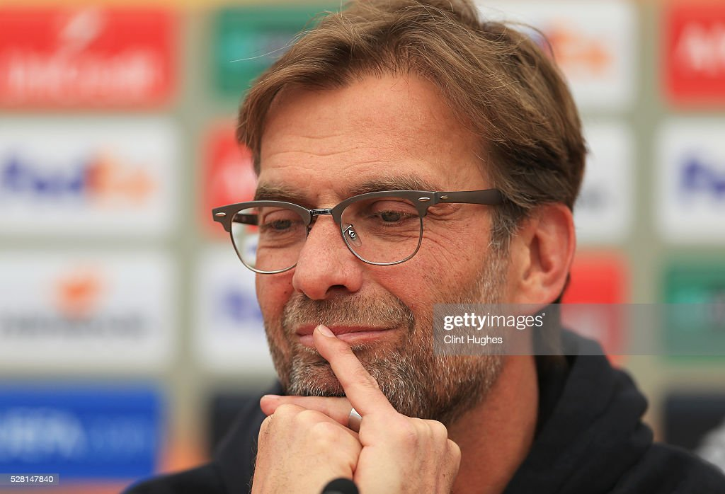 Jurgen Klopp, manager of Liverpool looks on during a press conference ahead of the UEFA Europa League Semi-Final Second Leg match against Villarreal at Melwood Training Ground on May 4, 2016 in Liverpool, England.