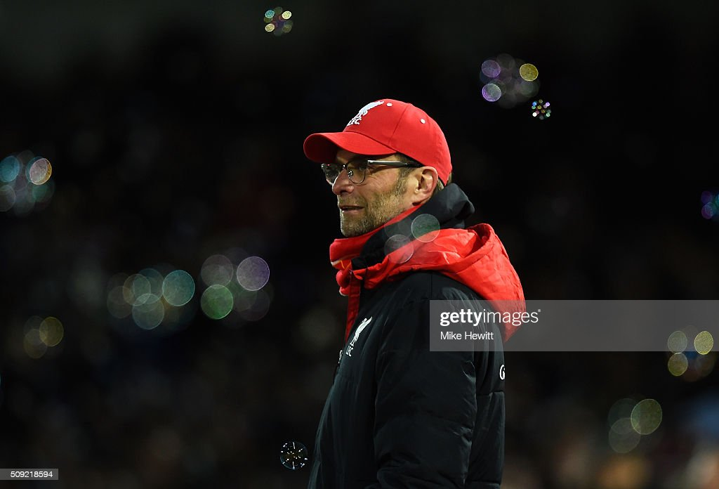 Jurgen Klopp manager of Liverpool looks on during the Emirates FA Cup Fourth Round Replay match between West Ham United and Liverpool at Boleyn Ground on February 9, 2016 in London, England.