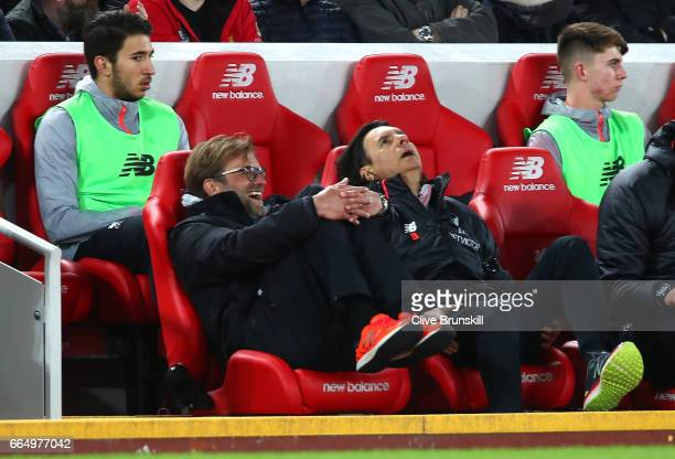Jurgen Klopp Manager of Liverpool looks on during the Premier League match between Liverpool and AFC Bournemouth at Anfield on April 5 2017 in...