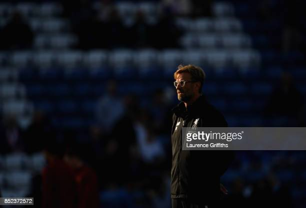 Jurgen Klopp Manager of Liverpool looks on during the Premier League match between Leicester City and Liverpool at The King Power Stadium on...