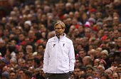 Jurgen Klopp manager of Liverpool looks on during the UEFA Europa League Group B match between Liverpool FC and FC Girondins de Bordeaux at Anfield...