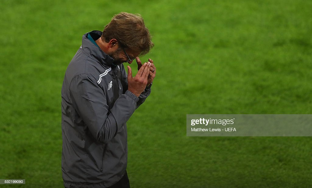 Jurgen Klopp, manager of Liverpool looks on during the UEFA Europa League Final between Liverpool and Sevilla on May 18, 2016 in Basel, Basel-Stadt.
